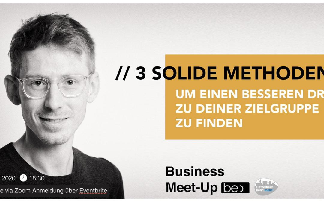 1. be content Online-Meetup am 1. April 2020: 3 solide Methoden, um einen besseren Draht zur Zielgruppe zu finden
